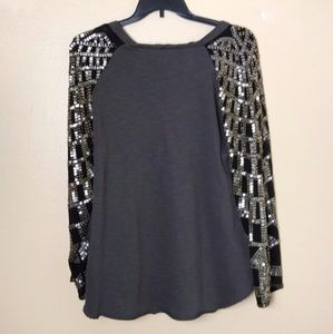 Free People Tops - Rare Free People Grey Graphic Tee Sequin Sleeves